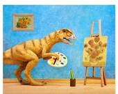 FALL SALE Funny dinosaur art print: Primitive Art