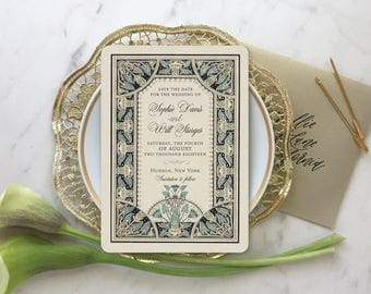 Save the Date Invitations, Invitations Vintage Style, Save the Dates, Art Nouveau Wedding, Gold Wedding Invitations, Lotus Flower Theme