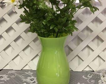 Lime Green Glass Vase UNDER 20