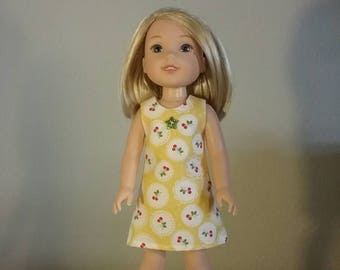 14.5 inch Doll Clothes Yellow Dress with Red Cherries fits like American Girl Wellie Wishers Doll Clothes