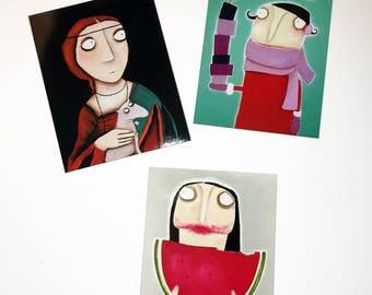 3 Fridge Art Magnets