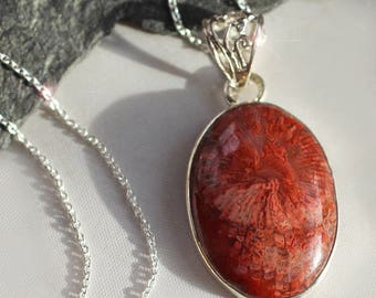 Red Horn Coral - Natural Rare Red Horn Coral Sterling Silver Necklace