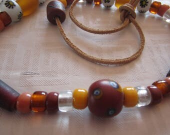 Shades of Brown, Gold, White and Amber Beaded Vintage Necklace