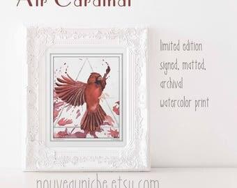 Cardinal Gift Cardinal Art Watercolor Prints Bird Nerd Gift Limited Edition Print Spiritual Art Prints Bereavement Gifts