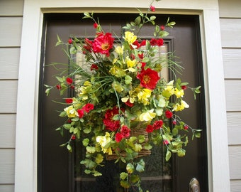 Summer Door Wreath, Poppy Wreath, Spring Wreath, Wall Floral Arrangement, Red and Yellow Wall Basket, Summer Wreath, Summer Wall Pocket