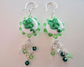 Shamrock Lampwork Bead Dangle Earrings