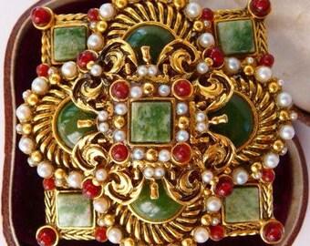 Jose Maria Barrera brooch pin   ornate Spanish cross   Spanish Renaissance Revival   vintage designer signed   faux pearls