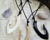 Leather Surfer Necklace Choker Maori Fishhook Bone Fish Hook Protection