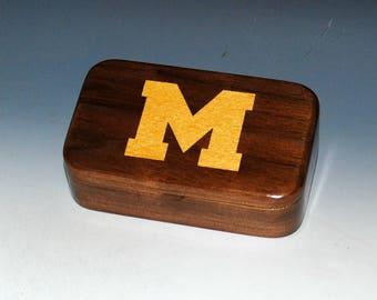Handmade Wooden Treasure Box -  University of Michigan in Walnut - Fan Gift Box, Alumni Gift Box, Stash Box, Trinket Box -Maize and Blue Box