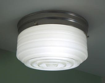 Mid Century Flush Mount Utility Ceiling Light