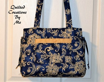 READY To SHIP Navy Blue and Tan Floral Quilted Handbag, Purse, Bag, Tote Bag, Bow Bag, Andrea Bag by Quilted Creations By Me