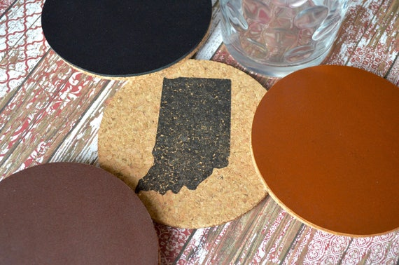 State of Indiana Cork Coasters With Leather Backing - Handcrafted from all natural cork and your choice of black, brown, or caramel leather.