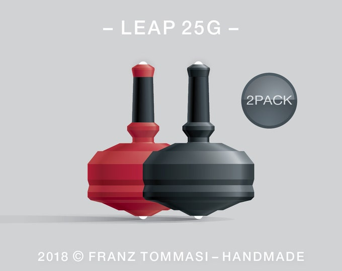 Leap 25G-2Pack (Red-Black) – Value-priced set of spin tops with dual ceramic tip and rubber grip