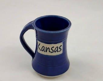 Summer Vacation Sale Blue Kansas Pottery Mug Handmade by Daisy Friesen