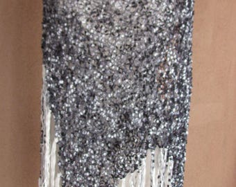 Hand Made Loose Knit Ribboned Black and White Women's Shawl with Fringes
