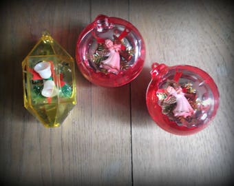 Vintage Jewelbrite Ornaments Plastic Diorama Ornaments Set of Three