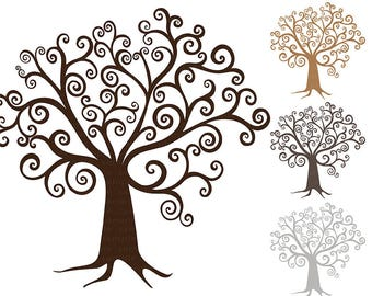 Digital Tree ClipArt, DIY Family Tree Clip Art, Whimsical Wish Tree Silhouette, Digital Download, Swirly Finger Print Tree Printable Graphic