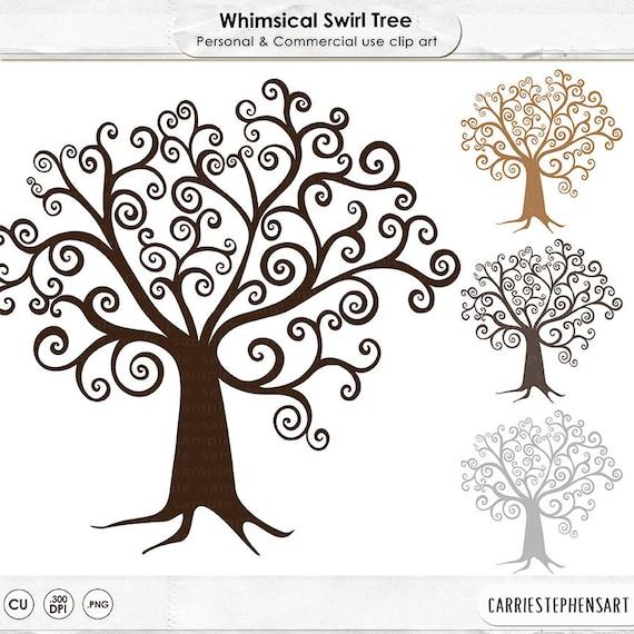 Digital Tree ClipArt, DIY Family Tree Clip Art, Whimsical Wish Tree ...
