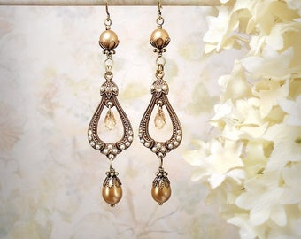 Champagne Pearl Earrings Champagne Wedding Champagne Chandelier Earrings Champagne Pearl Teardrop Earrings Gatsby Edwardian Victorian Bride