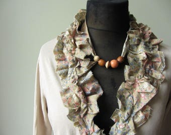 Tattered Shabby Chic Beige T shirt Cardigan WITH Necklace, Ruffle Collar Shirt, Upcycled Shirt, Mori Girl Clothing, Refashioned Women's Tops