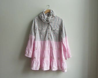 RESERVED Pink Plaid Bell Sleeve Blouse Plus Size, Upcycled Clothing for Women, Refashioned Plus Size Tunic, Prairie Chic Ruffle Shirt