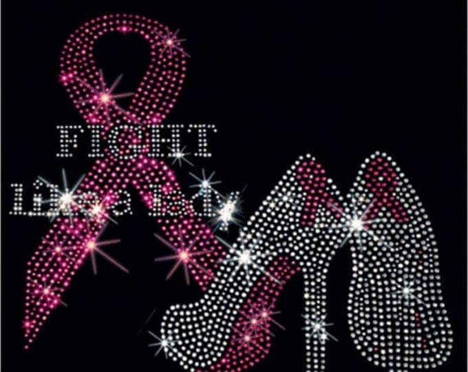 Breast Cancer Awareness Rhinestone T-Shirt Sizes XS-4XL - Fight Like a Lady - Long or Short Sleeve