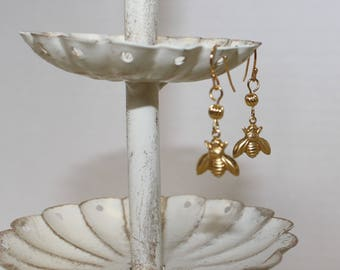 Victorian-Style Bee Drop Earrings, Gold-Plated Earwires, Civil War Appropriate