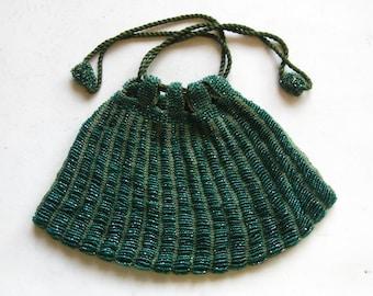 Vintage 20s Art Deco Great Gatsby Green Glass Beaded Drawstring Purse Handbag