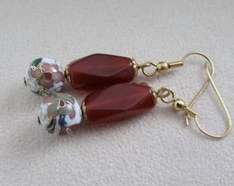 Carnelian and cloisonne earrings