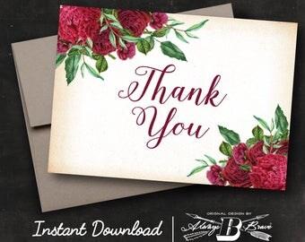Marsala Floral Thank You Card | Instant Download Printable Digital File DIY | Rustic Flowers Burgundy Red Maroon Vintage Floral Thank You