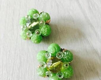 50% OFF SALE Vintage 1960's Bright Green Clip On Earrings / Costume Jewelry Rhinestone Earring Set