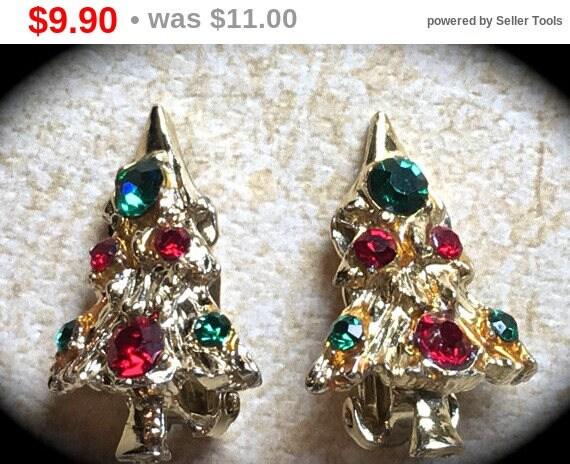Summer Sale Christmas Tree Earrings- Tree Earrings- Vintage Christmas Tree Clip on Earrings- Gold Red Green Rhinestone Earrings-Vintage H...