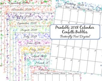 2018 Printable Calendar, Confetti Bubbles Design, Instant Download, Letter Size, JPG 300 dpi
