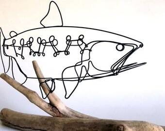 Steelhead Trout Wire Sculpture, Fish Wire Art, Minimal Wire Design, 537544146