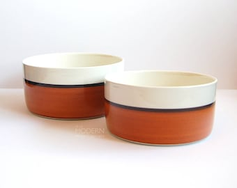 Gustavsberg Arena Swedish Ceramic Round Large and Medium Serving Bowls by Stig Lindberg 1970s Modern