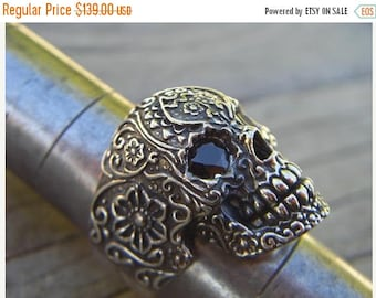 ON SALE Sale....Sugar skull ring in sterling silver with black cz's for eyes