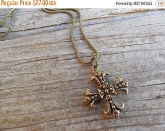 ON SALE Medieval cross necklace handmade in bronze