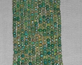 AB, AB Chrysoprase, Faceted Rondelle, Natural Stone, Chrysoprase Rondelle, Faceted Bead, Semi Precious, Sparkle, Strand, 5mm, AdrianasBeads