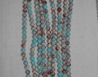 Jasper, Impression Jasper, 8 mm, Natural Stone, Aqua Brown Bead, Smooth Bead, Semi Precious Bead, Gemstone Bead, Full Strand, AdrianasBeads