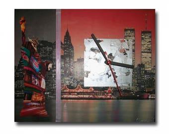 Tableau horloge pendule new york design moderne photo noir rouge