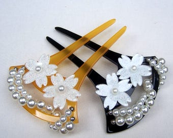 Japanese kanzashi hair comb choose black or amber hair pin hair pick hair fork Geisha headdress (AAE)