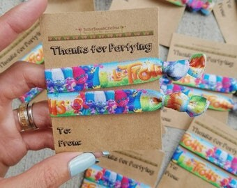 Happy Birthday. Trolls Theme Party Favors. Say Thank You with Hair Ties.