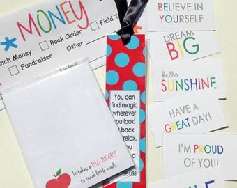 Wacky Pack // School Envelopes // Teacher Notepad // Lunchbox Notes // Laminated Bookmark // (35.00 value)