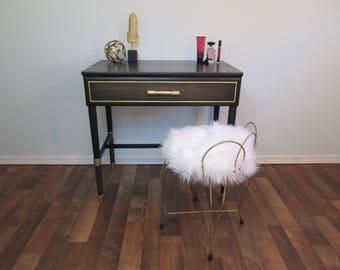 Writing Desk, Vintage Vanity Table, Black And Gold, Ebonized Oak Wood,  Vintage
