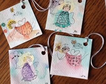 Mini Angel Original Watercolor Gift Tags