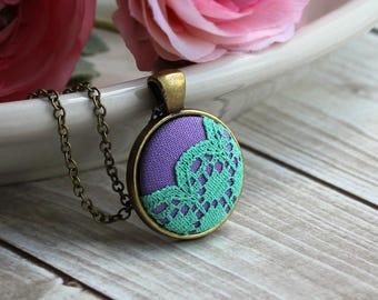 Small Cute Necklace, Mint And Lavender Bridesmaid Jewelry, Green And Purple Pendant