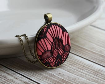 Long Geometric Necklace, Black And Pink Coral, Art Deco Jewelry