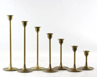 Vintage Brass Candlesticks, Boho Chic Decor, Brass Candle Holders in Graduated Sizes, Set of 7