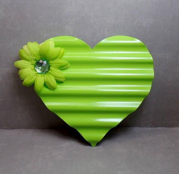 Green Metal Heart Wall Art - Heart Wall Hanging - Shabby Chic Heart - Heart Decor - Free US Shipping - Gifts