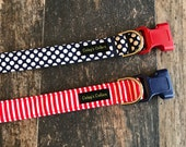 "Polka Dot Dog Collar, Striped Dog Collar, Dog Collars, Girl or Boy Dog Collar, Patriotic Dog Collar, ""The Abigail and The Alexander"""